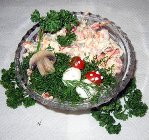 Кальмары с шампиньонами и овощами